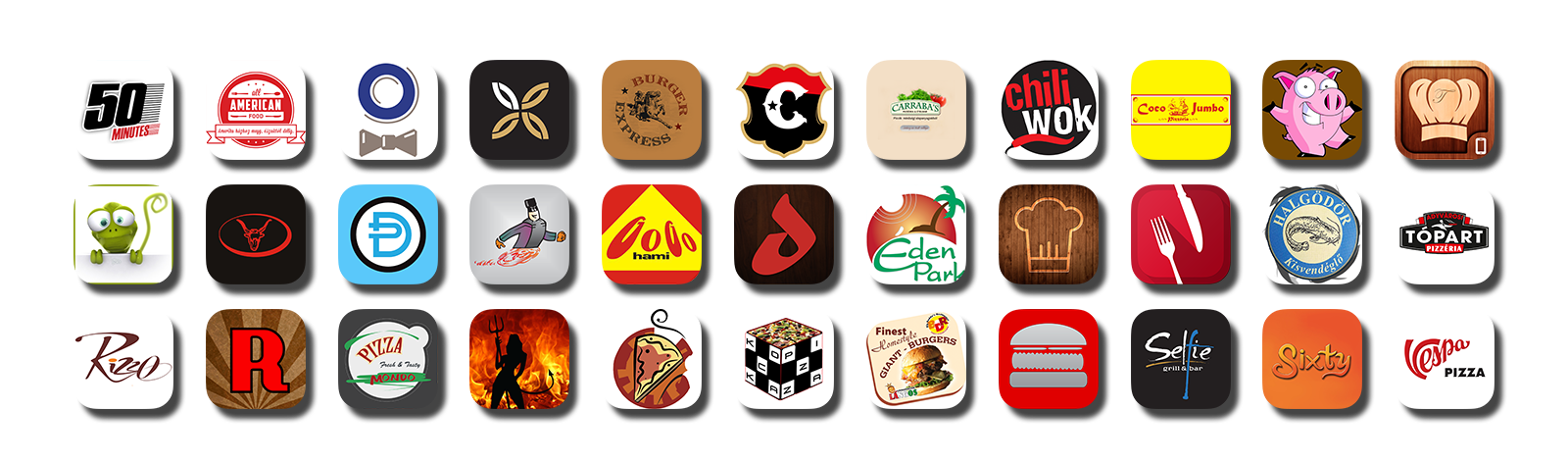 éttermi mobil app ikonok